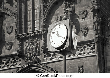 Street clock in europe - Street clock on a background of the...