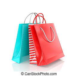 Three colored paper bag on a white background.
