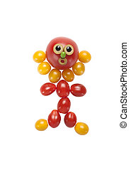 Funny man made of tomato