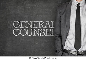 General counsel on blackboard with businessman in a suit on...