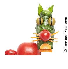 divertido, vegetales, hecho, gato