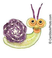 Funny snail made of vegetables