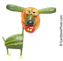 divertido, perro, hecho, de, vegetales,