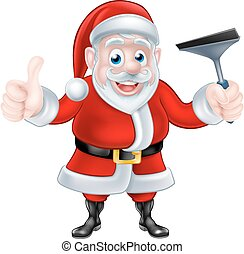 Cartoon Santa Giving Thumbs Up and Holding Squeegee -...