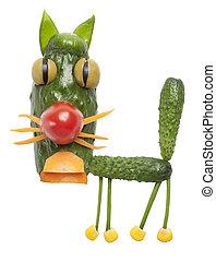 divertido, gato, hecho, de, vegetales,