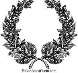 Woodcut style Laurel Wreath