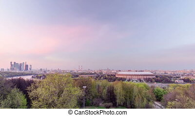 Panoramic view of Moscow City, Russia, from Sparrow Hills...
