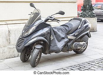 Motorbike Piaggio Mp3 400 I.E. - PRAGUE - SEPTEMBER 25:...