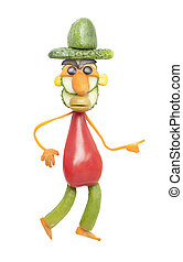 Funny man made of vegetables