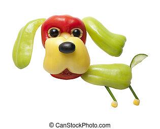 divertido, pimienta, hecho, perro