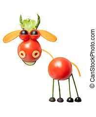 hecho, tomates, toro