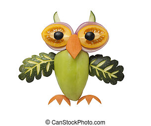 Funny owl made of vegetables
