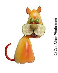 divertido, gato, hecho, de, pimienta, y, pepino,