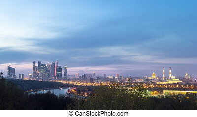 Panoramic view of Moscow City, Russia, from Sparrow Hills day to night timelapse