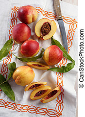 Nectarines on a rustic table