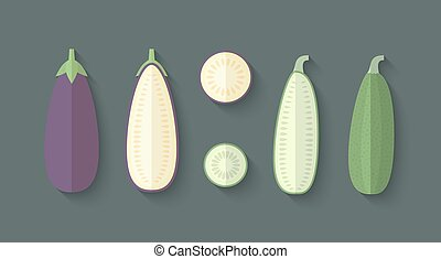 A set of Vegetables in a Flat Style - Eggplant and Zucchini...