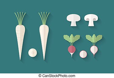 A set of Vegetables in a Flat Style - Parsley, Radish and...