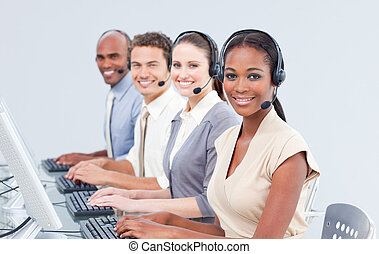International customer service representatives using headset...