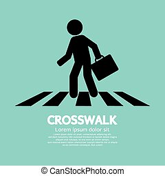 Crosswalk Graphic Sign - Crosswalk Graphic Sign Vector...