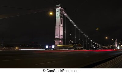 Timelapse of Krymsky Bridge or Crimean Bridge - Moscow...