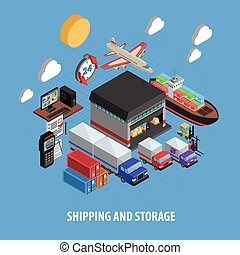 Shipping And Storage Isometric Concept - Shipping and...