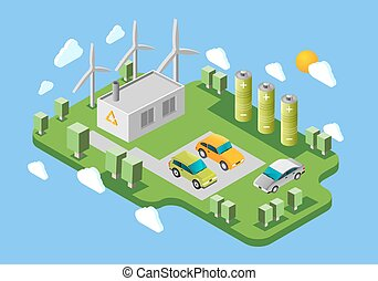Electric cars charging station isometric banner - Electric...