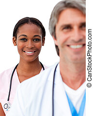 Two doctors standing in a line