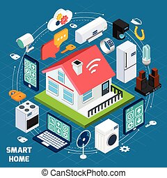 Smart home iot isometric concept banner - Smart home iot...