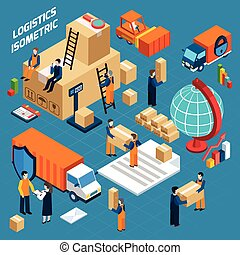 Isometric Warehouse Logistics Concept - Isometric warehouse...