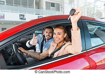 Creative concept for car rental - Photo of young couple...