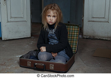 Depressed girl sitting in suitcase - Do not forget me. Poor...