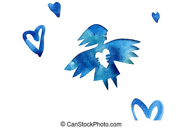 Blue angel of love with heart