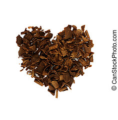 Heart shape concept, chocolate shavings Valentine`s day...