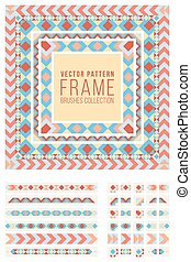 Vector Ornamental Decorative Frame Rounded Lines Pattern Brushes Set in Red Blue and Yellow