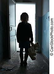 Depressed girl leaving the room - Go away. Poor sad...