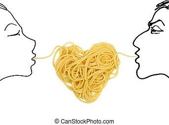 pâtes,  (valentine`s,  theme), Amour, jour