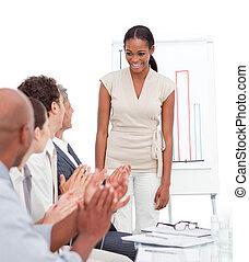 alegre, empresa / negocio, grupo, aplaudiendo,...