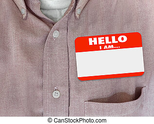 Hello I Am Blank Name Tag Sticker Red Shirt - Hello I Am...