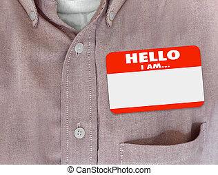 Hello I Am Blank Name Tag Sticker Red Shirt - Hello I Am...