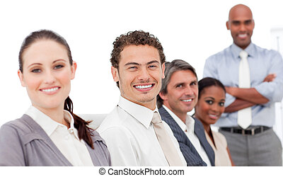 Smiling international business people at a presentation in...