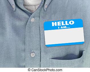 Hello I Am Blank Name Tag Sticker Blue Shirt - Hello I Am...