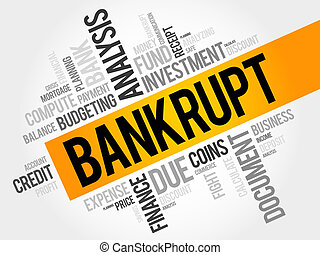 BANKRUPT word cloud, business concept