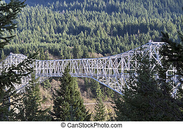Bridge Over Columbia River Gorge - Bridge Of The Gods Over...
