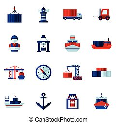 Seaport Flat Icons Set - Seaport flat icons set with...