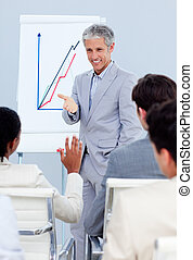 Charming businessman doing a presentation to his colleagues