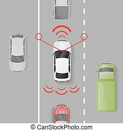 Car Safety System - Car safety system with top view auto in...