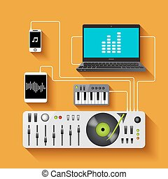 Dj Workspace Illustration - Dj workspace with audio...