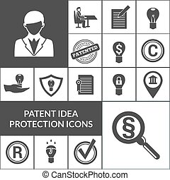 Patent Idea Protection Icons Black - Patent idea protection...