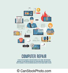 Computer repair flat icons composition poster - Computer...
