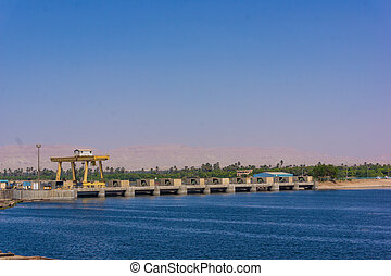 Sluice gate on the Nile river, Egypt watergate near Esna